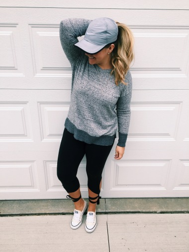 NIKE HAT, GAP SWEATER, FREE PEOPLE LEGGINGS, CONVERSE